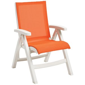 Jamaica Beach Midback Folding Sling Chair, White Frame, Orange Case of 2