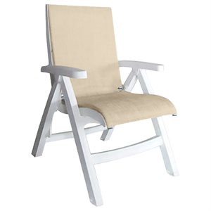Jamaica Beach Midback Folding Sling Chair, White Frame, Straw Case of 2