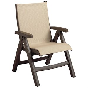 Jamaica Beach Midback Folding Sling Chair, Bronze Frame, Khaki Case of 2