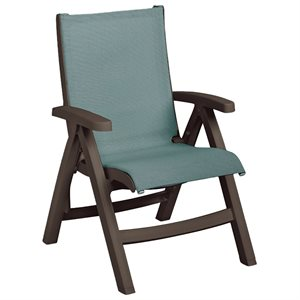 Jamaica Beach Midback Folding Sling Chair, Bronze Frame, Sky Blue Case of 2