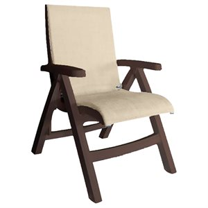 Jamaica Beach Midback Folding Sling Chair, Bronze Frame, Straw Case of 2