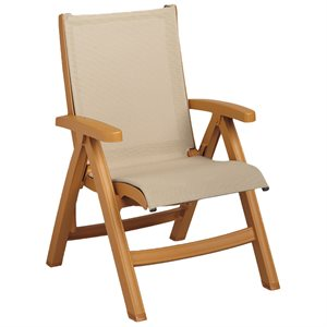 Jamaica Beach Midback Folding Sling Chair, Wood Frame, Khaki Case of 2