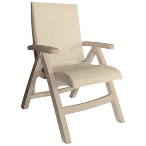 Jamaica Beach Midback Folding Sling Chair, Sandstone Frame, Straw Case of 2