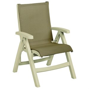 Jamaica Beach Midback Folding Sling Chair, Sandstone Frame, Taupe Case of 2