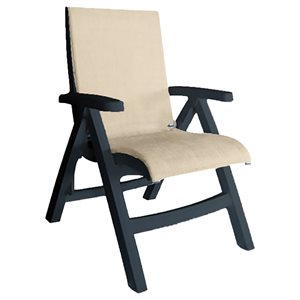 Jamaica Beach Midback Folding Sling Chair, Charcoal Frame, Straw Case of 2