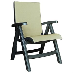 Jamaica Beach Midback Folding Sling Chair, Charcoal Frame, Tweed Case of 2