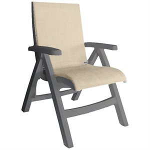 Jamaica Beach Midback Folding Sling Chair, French Taupe Frame, Straw Case of 2