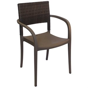 Java Stackable Chair with Armrests, Bronze Frame, Case of 16