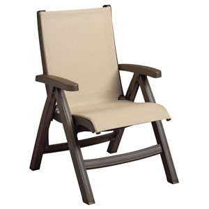 Belize Sling Chair, Bronze Mist Frame, Khaki Sling, Case of 2