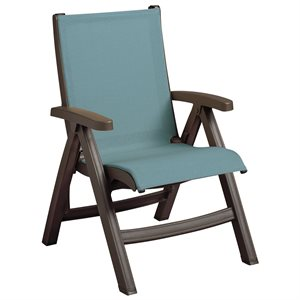 Belize Sling Chair, Bronze Mist Frame, Spa Blue Sling, Case of 2