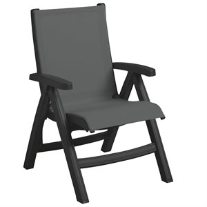 Belize Sling Chair, Charcoal Frame, Gray Tweed Sling, Case of 2