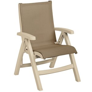 Belize Sling Chair, Sandstone Frame, Taupe Sling, Case of 2