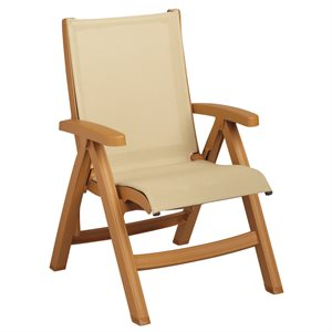 Belize Sling Chair, Teakwood Frame, Khaki Sling, Case of 2