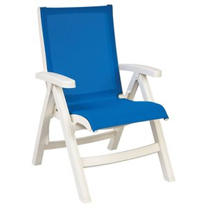 Belize Sling Chair, White Frame, Blue Sling, Case of 2