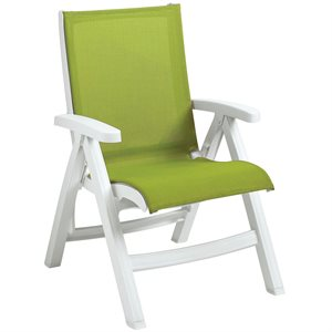Belize Sling Chair, White Frame, Fern Green Sling, Case of 2