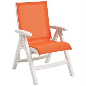 Belize Sling Chair, White Frame, Orange Sling, Case of 2