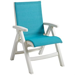 Belize Sling Chair, White Frame, Turquoise Sling, Case of 2