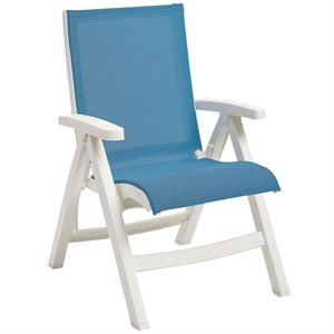 Belize Sling Chair, White Frame, Sky Blue Sling, Case of 2